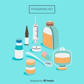 Fondo plano grupo de medicinas