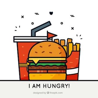 Fondo plano con hamburguesa, bebida y patatas