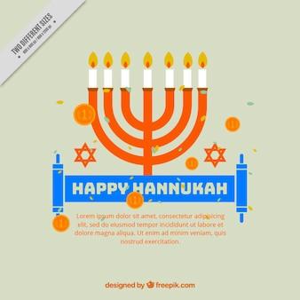 Fondo plano de hanukkah con monedas y candelabro