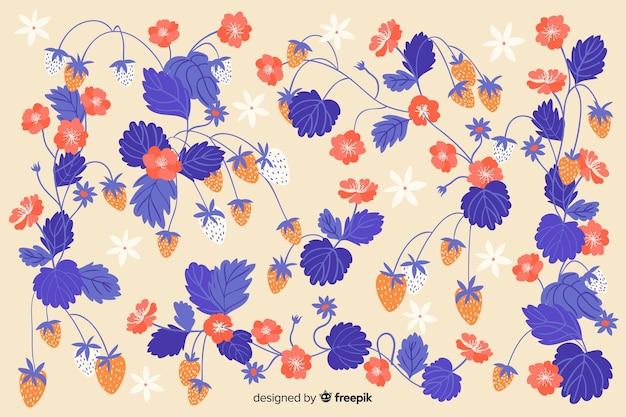 Fondo plano de hermosas flores azules