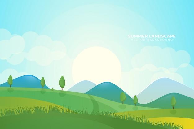 Fondo plano hermoso paisaje verde