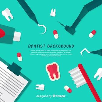 Fondo plano herramientas dentista