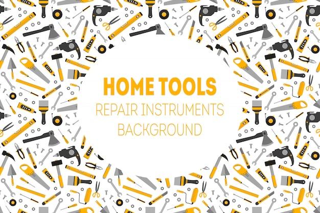 Fondo plano de herramientas de trabajo en casa