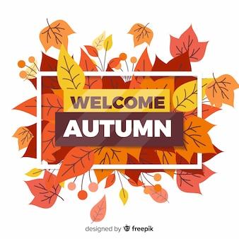 Fondo plano de hojas de otoño