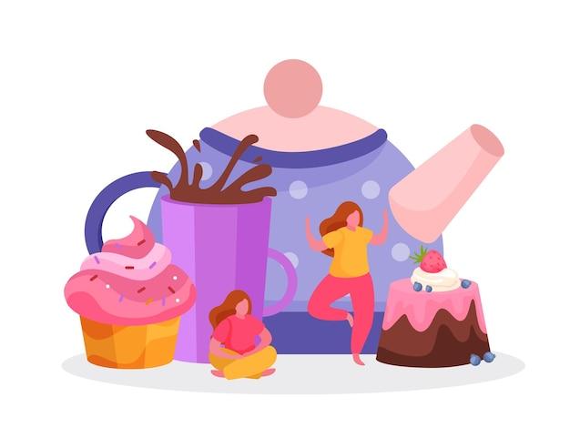 Fondo plano de la hora del té con imágenes de personajes femeninos de la taza de tortas con salpicaduras de gotas y la ilustración de la tetera