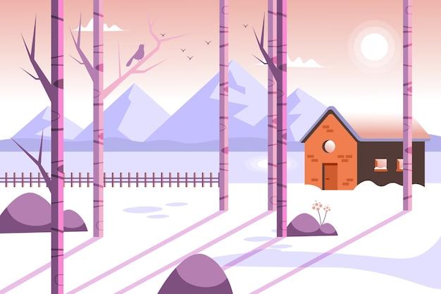 Fondo plano de invierno con casa y nieve.