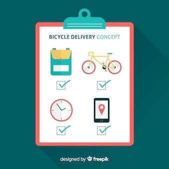 Fondo plano lista de comprobación reparto en bicicleta
