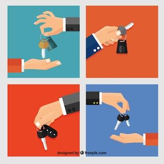 Fondo plano de mano sosteniendo llave de coche