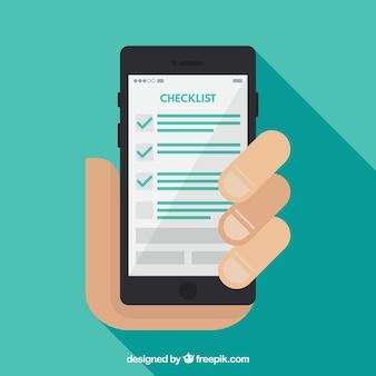 Fondo plano de mano sujetando un móvil con lista de verificación