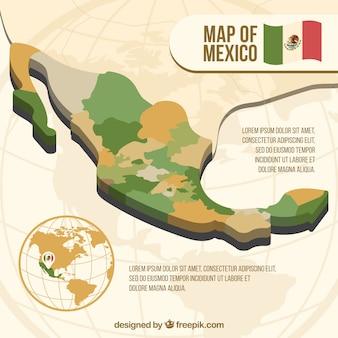 Fondo plano de mapa de méxico