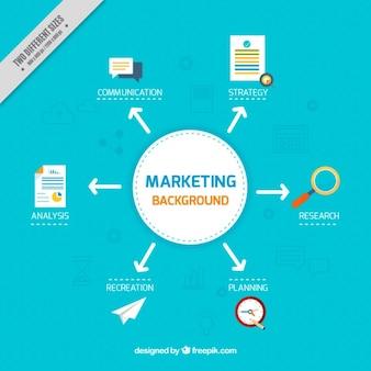 Fondo plano de marketing con flechas y diferentes iconos