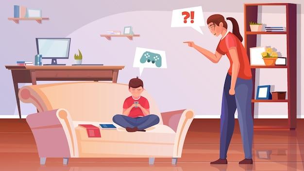 Fondo plano de maternidad con madre enojada regaña a su pequeño hijo por no hacer su ilustración de tarea