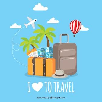 Fondo plano me encanta viajar