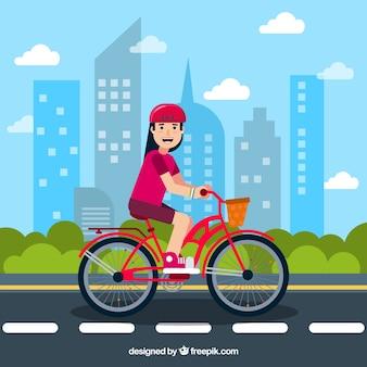 Fondo plano con mujer sonriente y bicicleta