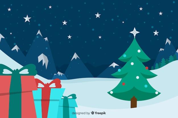 Fondo plano de navidad con árbol de navidad y regalos