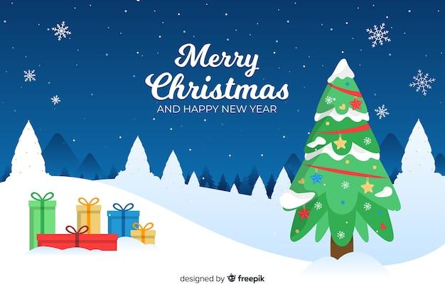 Fondo plano de navidad con árbol y regalos
