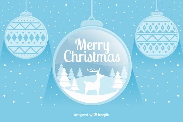 Fondo plano de navidad con bolas de navidad