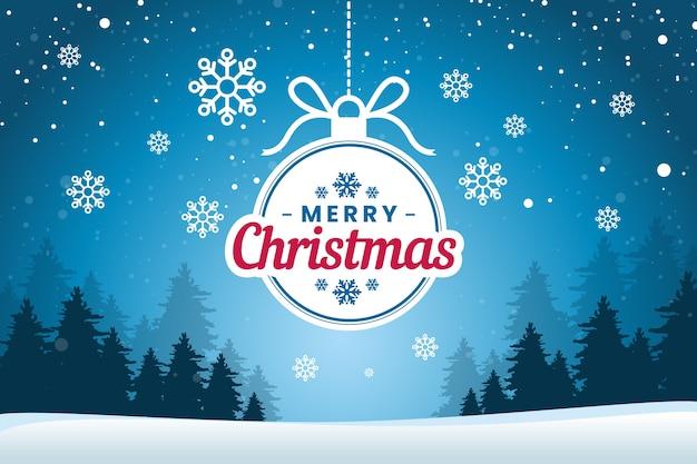 Fondo plano de navidad con copos de nieve