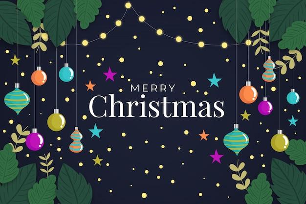 Fondo plano de navidad con decoración