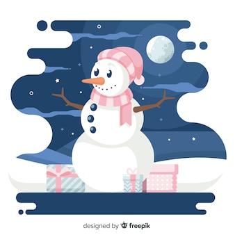 Fondo plano de navidad y muñeco de nieve en la noche