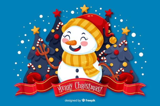 Fondo plano de navidad y muñeco de nieve con sombrero