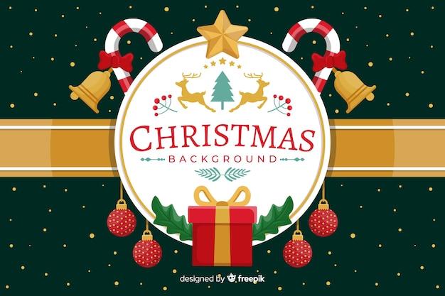 Fondo plano de navidad con saludo