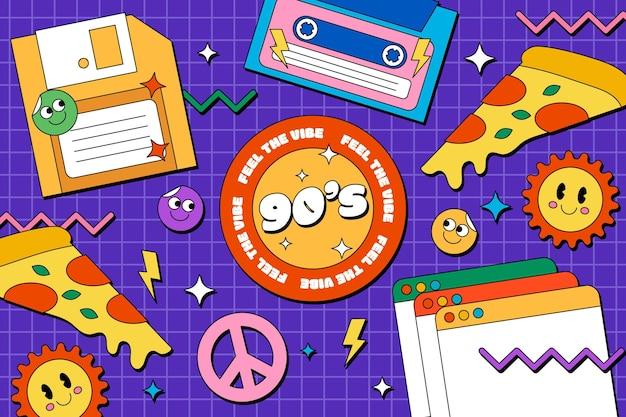 Fondo plano nostálgico de los 90 dibujados a mano