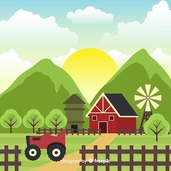 Fondo plano paisaje granja soleado