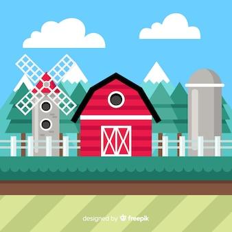 Fondo plano paisaje granja