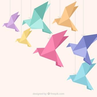 Fondo plano de pájaros volando