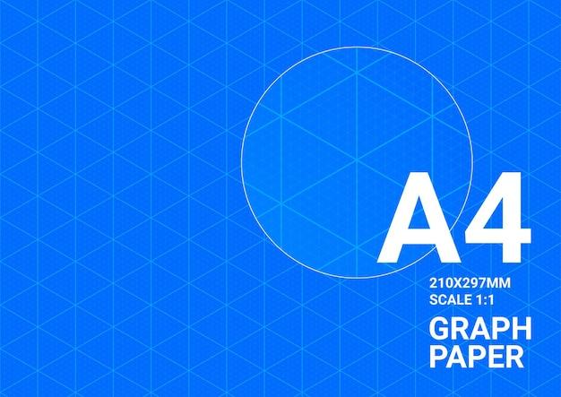 Fondo plano, papel cuadriculado a4, plan de cuadrícula de impresión azul vectorial
