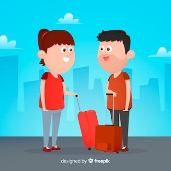 Fondo plano pareja viajando