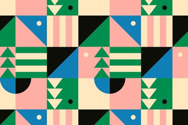 Fondo plano de patrón inspirado en la bauhaus