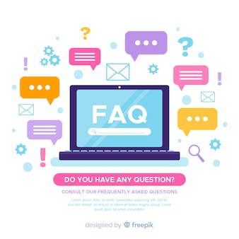 Fondo plano preguntas frecuentes