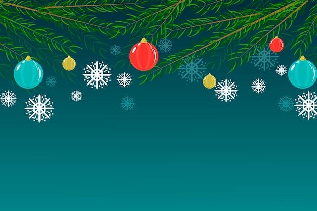Fondo plano de ramas de árbol de navidad