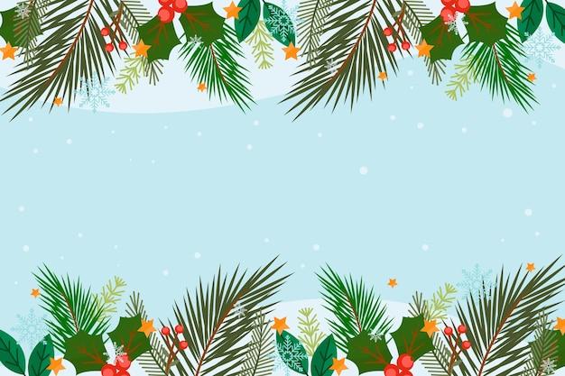 Fondo plano ramas de árboles de navidad