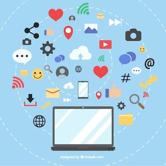 Fondo plano de redes sociales con ordenador