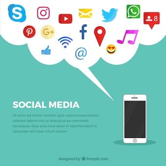 Fondo plano de redes sociales con teléfono móvil