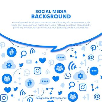 Fondo plano de redes sociales con variedad de iconos