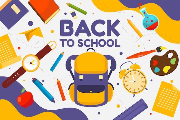 Fondo plano de regreso a la escuela