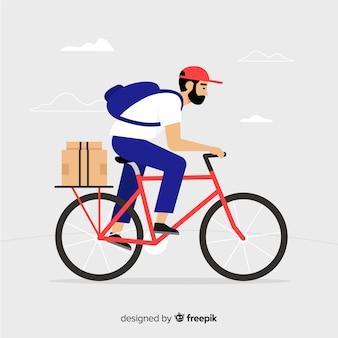 Fondo plano repartidor en bicicleta