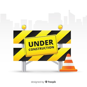 Fondo plano señal de advertencia de construcción