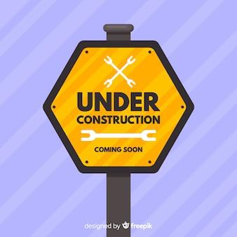 Fondo plano señal en construcción