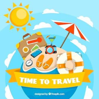 Fondo plano tiempo para viajar
