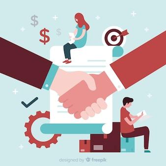 Fondo plano trato de negocios