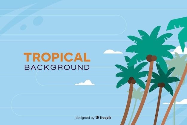 Fondo plano tropical con palmeras