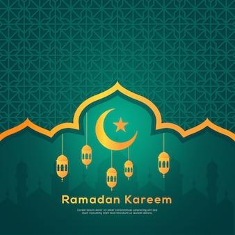 Fondo plano de vacaciones de ramadán