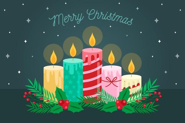 Fondo plano de velas de navidad