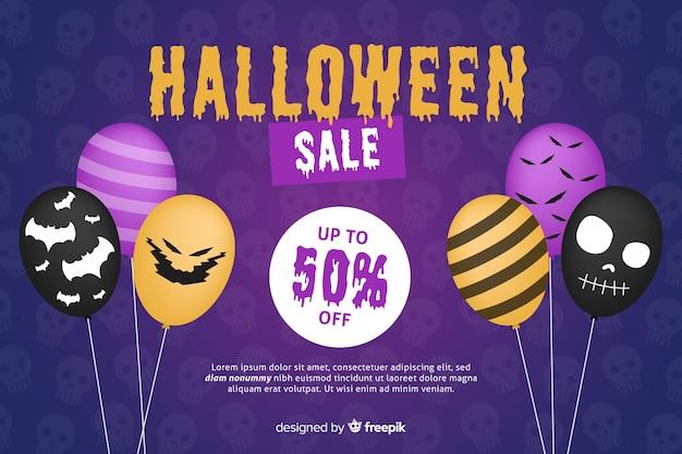Fondo plano de venta de halloween con descuento
