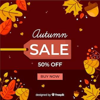 Fondo plano de ventas de otoño estilo